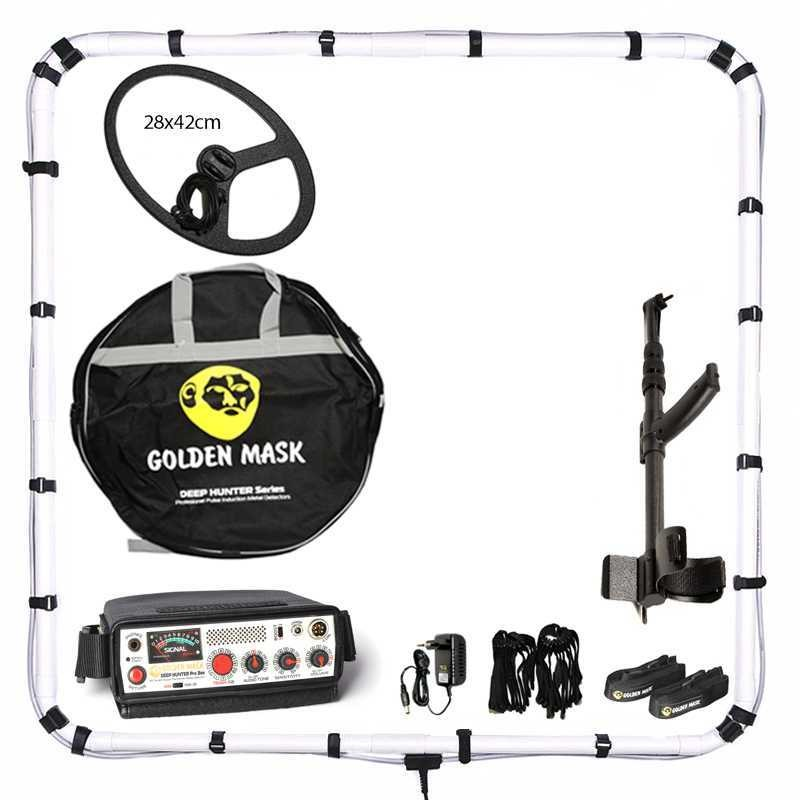 Металотърсач Golden Mask Deep Hunter Pro 3se в комплект 125х125см + 28х42см и телескопичен стик + раница